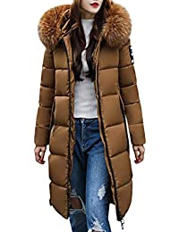 455c0e64fdca Tomwell Hiver Manteau avec Capuche Fourrure Doudoune Femme Zippé Longue  Duvet de Coton Grande Taille Doudoune