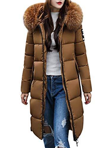 OranDesigne Donna Invernali Giacca Lungo Caldo Cappotto con Cappuccio Collo di Pelliccia Casual Eleganti Piumino Parka Trench Coat Outwear Marrone IT 44