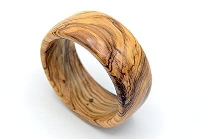 WOODISLAND - Bracelet large en bois d'olivier Corse, bois biologique tourné à la main produit artisanal, bracelet en bois forme ronde, bijoux en bois