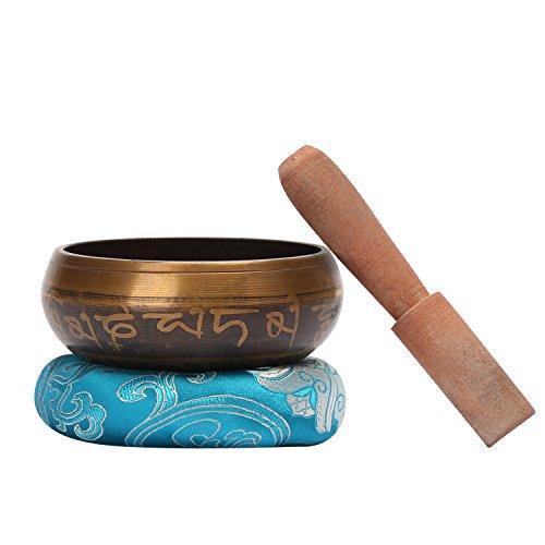 CAHAYA Tibetische Klangschale 9,5cm Singing Bowl Klangschalen Set mit Klöppel und Klangschalenkissen