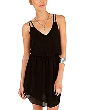 DouYuLike Verano Mujeres Vestido de Deslizamiento Beachwear Colores Lisos Vestidos de Gasa Mini Dress de Partido...