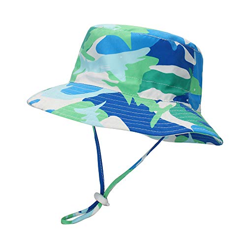LACOFIA Baby Sun Hat Toddler Boys Girls Summer Bucket Hat Kids UPF 50 Wide Brim Beach Cap with Adjustable Chin Strap