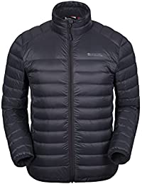 Mountain Warehouse Featherweight Down Mens Jacket - Lightweight Winter Coat, Easy Care, Packaway Bag, Water Resistant Rain Coat – For Camping In Cold Weather