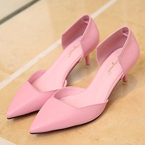 ... Damen Spitze Pumps Freizeit Koreanische Stilettos Mit 5.5cm Absatz Pink  ...