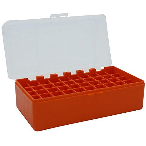 WPW Patronenbox aus robustem Kunstoff mit Klappdeckel für Kaliber 6 mm, Kaliber 6 PPC, Kaliber .22-250 - 50 Patronen - orange -