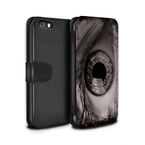 Stuff4 Coque/Etui/Housse Cuir PU Case/Cover pour Apple iPhone 5/5S / Jaune Design / Yeux/Iris Collection Noir/Blanc