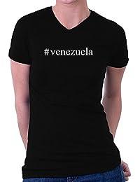 Teeburon Venezuela Hashtag Camiseta cuello V mujer