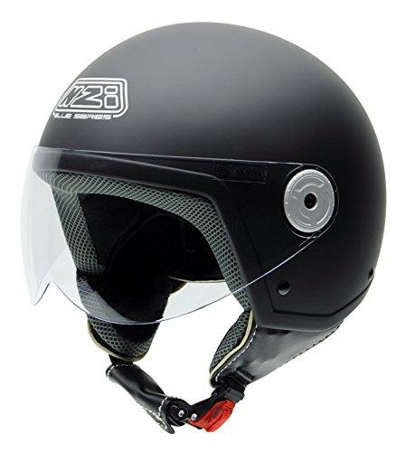NZI Vintage II Casco de Moto, Negro(Negro Suave), 57 (M)
