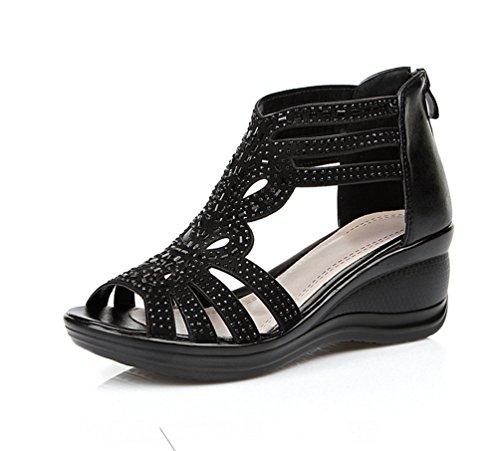 Damenschuhe Plateau Sandalen mit Keilabsatz/ Wedge Keilabsatz Schnalle Sandalen / Sandaletten Schwarz