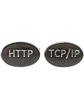 Ein Paar HTTP TCP IP Manschettenknöpfe MIT PRÄSENTATIONS GESCHENKKASTEN - Massives Messing - Rhodium überzogenes