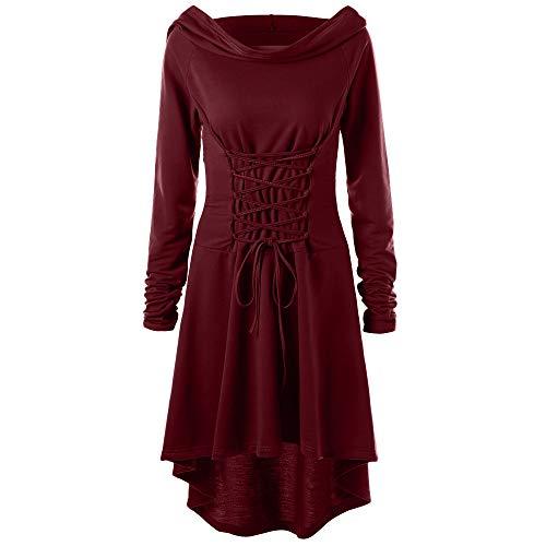 Lazzboy Frauen Kostüme Schnüren Sich Oben mit Kapuze Vintage Pullover High Low Bandage Langes Kleid Mantel(L,Rot)