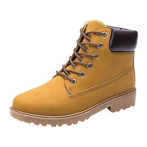 Herren Worker Boots Combat Schuhe - Kurzschaft Stiefel Army Outdoor Schnürstiefeletten Winterschuhe Highdas Gelb