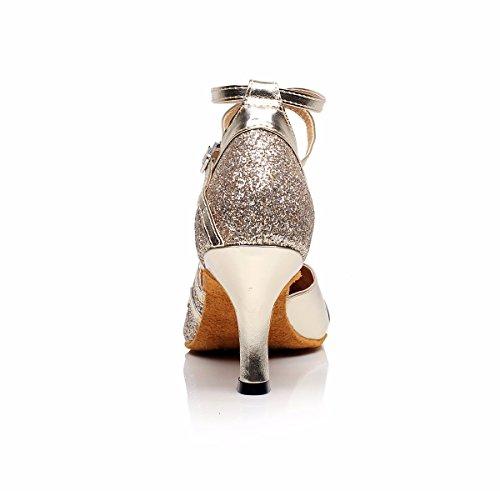 DQuietness Scarpe da ballo femminile scintillante scintillante latino / paillette / tallone cubano sintetico nero / argento / oro / multicolore Gold