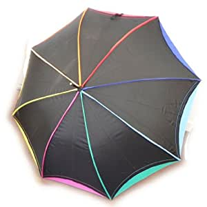 """Parapluie canne """"Arc En Ciel"""" noir multicolore"""