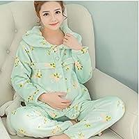 WYIKAI Pijamas Las Mujeres Embarazadas Gruesa Y Grande con Pijamas De Enfermería En Otoño E Invierno Femenina Camisa Franela 2Pedazo Pijamas Series L