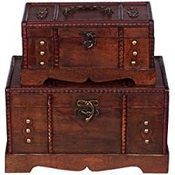 Harvest HS 110039 - Baúl de madera tipo cofre del tesoro (2 unidades, mueble pequeño, con hebillas de metal, diseño antiguo, diferentes tamaños, para decoración de estilo marítimo o colonial, alta calidad, con adornos)