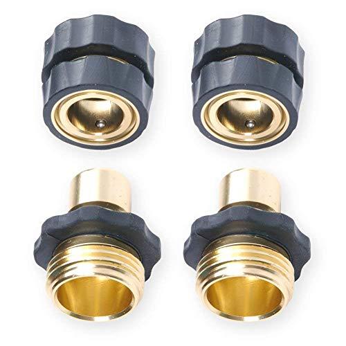 TOOGOO 4 Pièces 3/4 Filetage Interne Raccord De Tuyau D'Arrosage Connecteur Rapide Comprend 2 Connecteurs Males + 2 Connecteurs Femelles