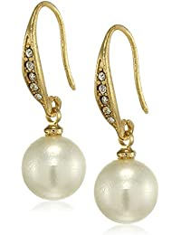 Estele 24Kt Gold Plated Pearl drop Earrings with Austrian Crystal for Women and Girls
