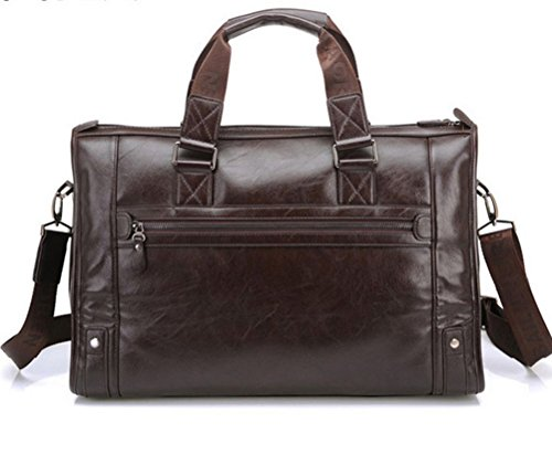 YAAGLE Herren 15 Zoll Laptoptasche Aktenkoffer-Tasche große Kapazität Schultertasche Reisentasche Retro Handtasche dunkelbraun