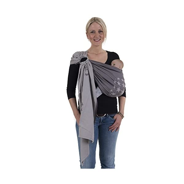 Hoppediz Ring Sling (Jacquard Los Angeles Grey) Hoppediz Suitable from birth until parent or child chooses to stop carrying 100% Cotton Special broken twill weave 1