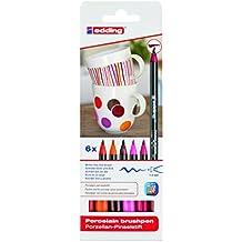 Edding 4200-6-S-999 - Estuche con 6 rotuladores para porcelana, gama rojo/rosa