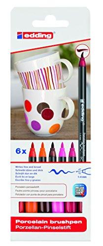 edding 4200 Porzellan Pinselstift (auch für Glas und Keramik). Warme Farbtöne mit 6 Stiften. Zum spülmaschinenfesten bemalen und beschriften von Geschirr, Tassen und Gläsern. -