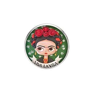 Edelstahl Brosche, Durchmesser 25mm, Stift 0,7mm, handgemachte Illustration Frida Viva la Vida