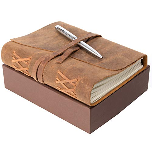 LEDER NOTIZ-TAGEBUCH GESCHENKSET A5 Handgefertigtes Schreibheft 20x15cm unliniert, Vintage Ledernotizbuch für Männer und Frauen, tolles Geschenk mit Box, Stifthalterung und Luxus Kugelschreiber