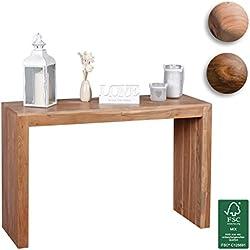 Wohnling mesa consola Madera Maciza Diseño consola escritorio 115x 40cm rústico estilo de trabajo de mesa Madera Natural Modern, madera, acacia, 115 x 75 x 40 cm