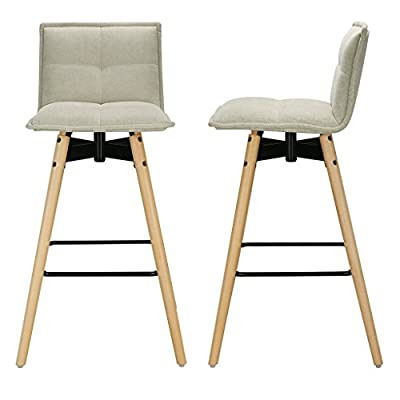 LANGRIA Modern Mid Century Tall Tufted Polyester Bar Stool with Seat Cushion Strong Beech Legs Max Load 120 kg Kitchen Breakfast Bar Counter Home (Set of 2, Greeny Grey) produced by LANGRIA - quick delivery from UK.