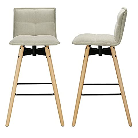 LANGRIA Modern Mid Century Tall Tufted Polyester Bar Stool with