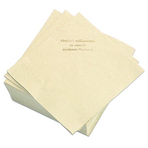 Geschenke mit Namen Servietten Champagner, Prägung in Gold-Schrift: HERZLICH WILLKOMMEN ZU Unserer Goldenen Hochzeit, 50 Stück, ca. 33 x 33 cm