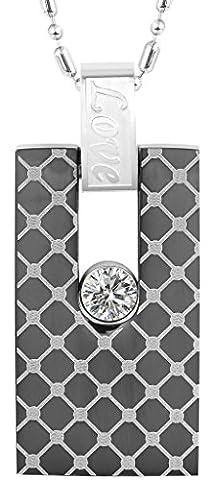 Men Necklace Rectangle Shape Love CZ 1.7*3.1CM Stainless Steel Pendant Necklace Black Aooaz Jewelry