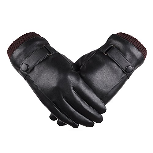 Eizur uomini invernali touch screen pu pelle guanti outdoor sport caldo antivento guida ciclismo lussuoso guanti