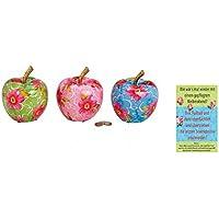 Preisvergleich für +d Porzellan Spardose Apfel mit Blumendekor 2er Set & Postkarte Wie wär`s mal Wieder mit Einem ... - Set ~