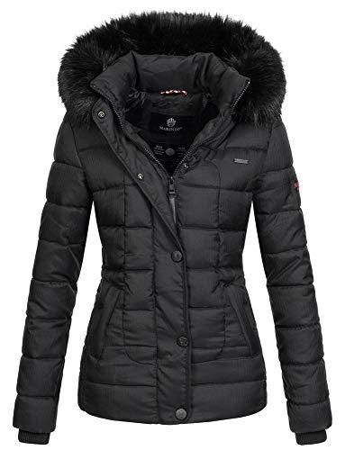 Marikoo warme Damen Winter Jacke Steppjacke Winterjacke gesteppt Parka B391 [B391-Unique-Schwarz-Gr.S] -
