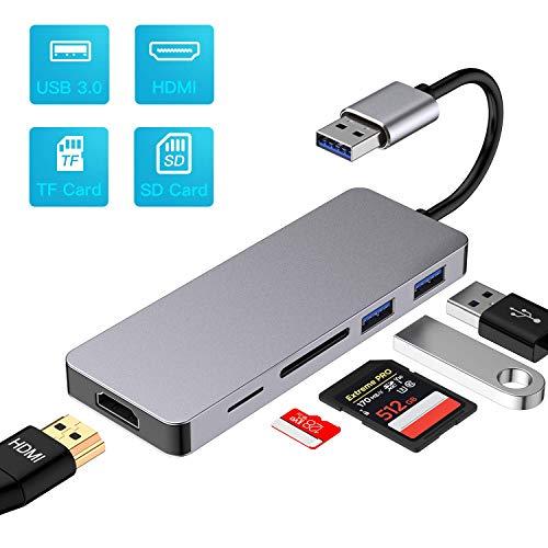 Ofima USB zu HDMI Adapter 5 in 1,USB Hub HDMI, USB 3.0 to HDMI Converter, 1080p HD,USB 3.0 Input, 2 Port USB 2.0, 2 Port Card for HDTV TV PC Laptop Windows 7/8/8.1/10, NO Mac & Windows Vista