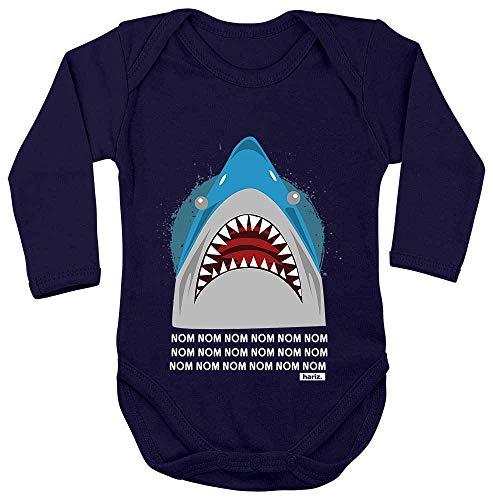 Hungrig Langarm (HARIZ Baby Body Langarm Hungriger Hai Süß Tiere Dschungel Plus Geschenkkarte Matrosen Dunkel Blau 62-68)