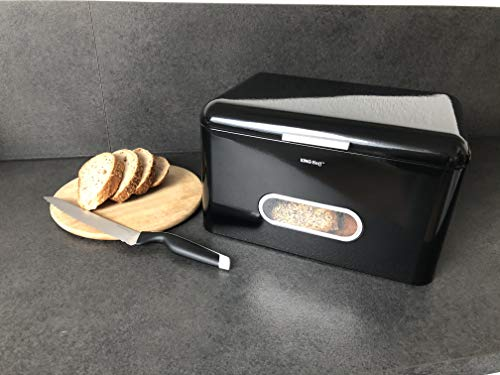 AVEELO XXL Brotkasten Retro Aufbewahrungsbox aus Metall 34x24x21 cm Brotkästen Brotaufbewahrungsbox für Brot und Brötchen (Schwarz Groß)