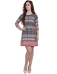 Sabhyata: The Ethnic Valley - Stylish and Comfortable Multicolor Printed Polycrepe Dress