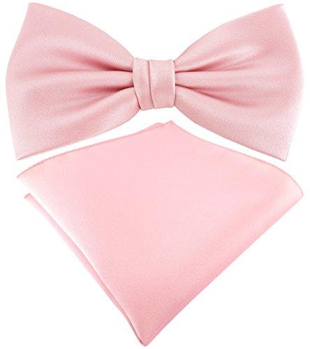 TigerTie Satin Fliege + TigerTie Einstecktuch in rosa Uni einfarbig + Aufbewahrungsbox