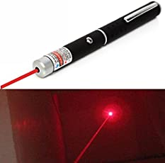 Iktu 650nm 5mW Red Laser Pointer Pen - Black (2 x AAA)