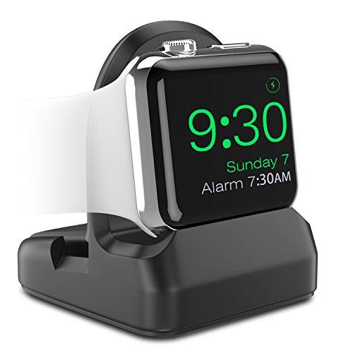 MoKo Stand en TPU pour Apple Watch, Station de Charge Mode Nightstand, Station d'accueil, Support Bureau, pour Tous Les Modèles Apple Watch [38mm 40mm 42mm 44mm] Series 1/2/3/4 - Noir
