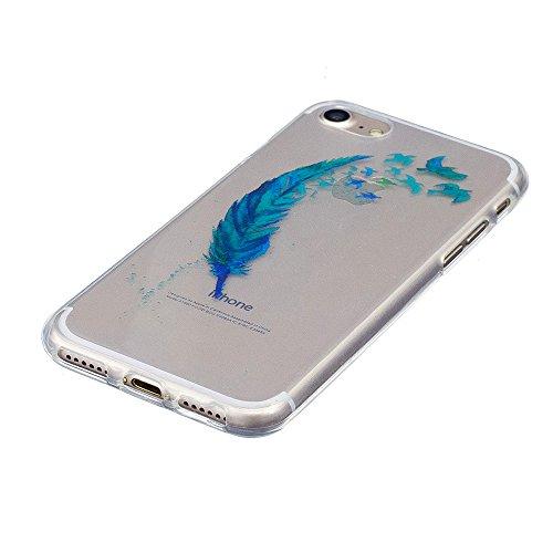 Cover iPhone 7 Plus 8 Plus, E-Unicorn Custodia Cover iPhone 7 Plus 8 Plus Trasparente con Disegni Gatto Carino Silicone Morbido TPU Gomma Morbida Colorate Ultra Slim Bumper Case Retro Elegante Modello Piuma