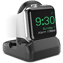 MoKo Apple Watch Serie 1 & 2 Soporte - Portátil / Antideslizante Base de Carga Resistente-Arañazos TPU Charging Dock con Ranura de Alambres Compatible con para Apple Watch 38mm / 42mm 2015 & 2016, Negro