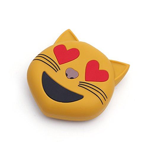 iprotect Emoji-Powerbank 2000mAh Externes Ladegerät im Katzen-Emoji-Design für Smartphones und andere Geräte mit USB-Anschluss - inklusive Micro USB-Ladekabel