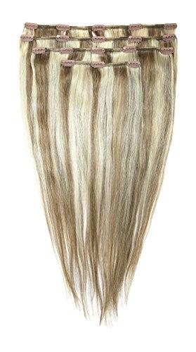 American Dream Lot Tête Complète de Luxueuses Extensions Clip In 100 % Cheveux Humains Couleur 10/22 Blond Cendre Moyen/Blond Plage