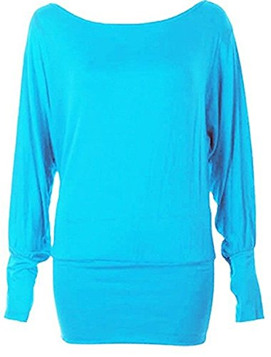 Islander Fashions Womens Plain manches longues Batwing Top Dames Stretchy Fancy Party Shirt Top S / 3XL Aqua