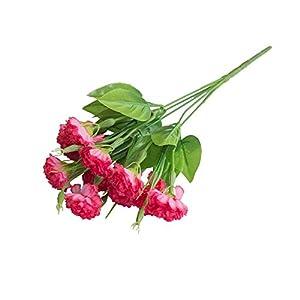 Ogquaton 1 Ramo Clavel Artificial Plástico Flor Falsa Hogar Hotel Tienda Decoración Rosa