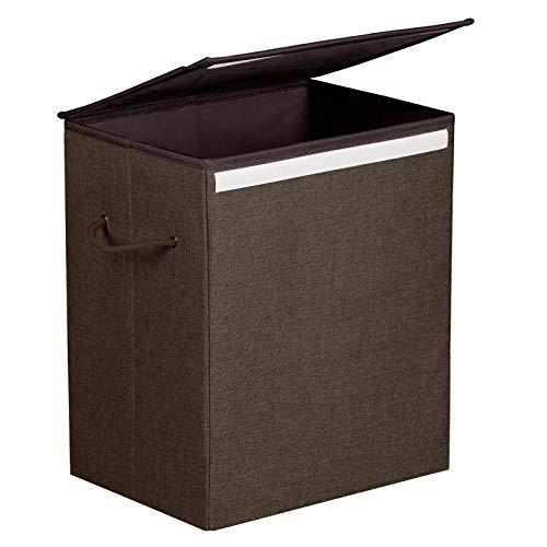 Songmics cesta portabiancheria 60l, portabiancheria in simil lino, con coperchio e maniglie, pieghevole, marrone lcb109br